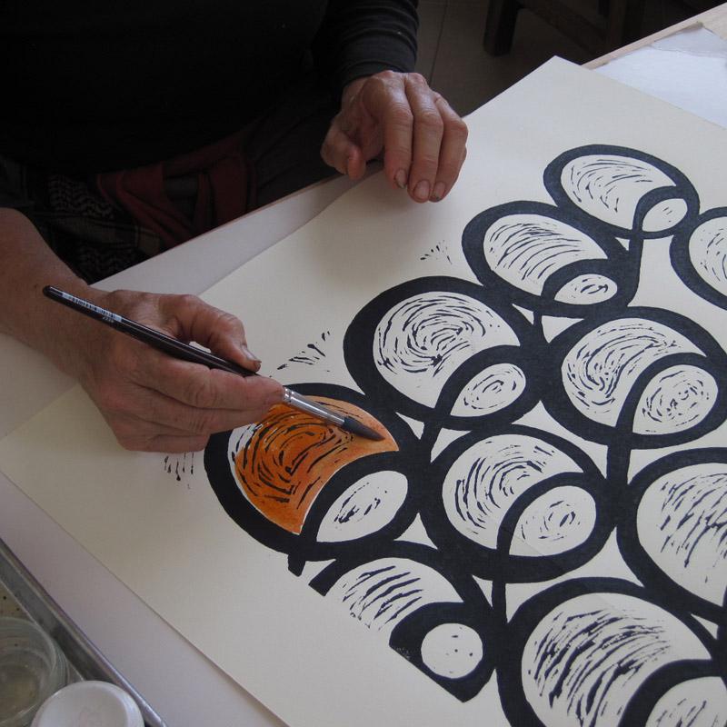 Colouring a Lino Print